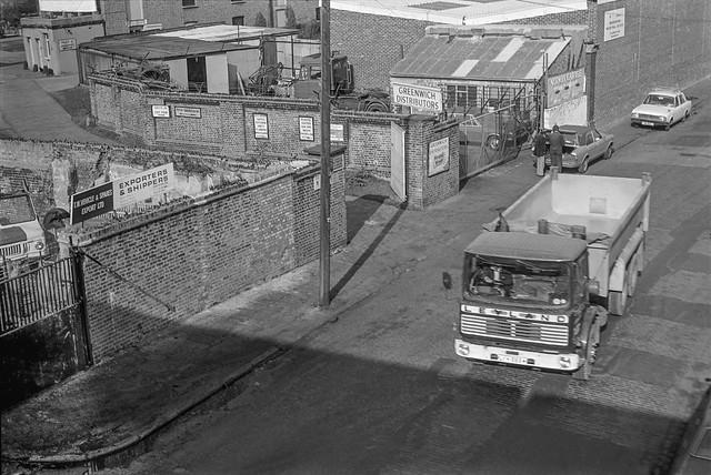Norman Rd, Greenwich. 1982 30o-44: lorry, wharf, works,