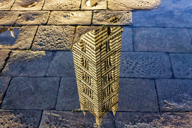 Riflesso in piazza Duomo -  Campanile del Duomo di Siena / Reflected in Duomo Square  - Bell tower of the Siena Cathedral