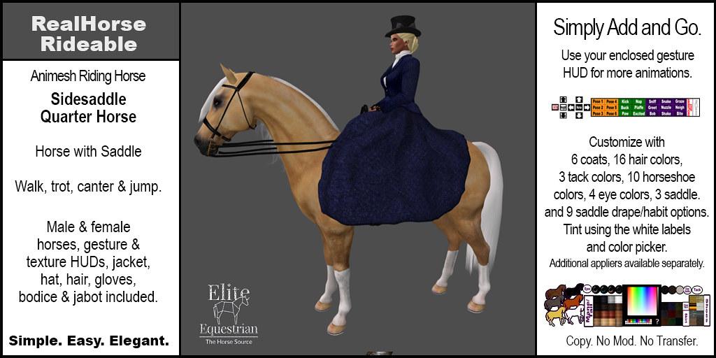 Elite Equestrian Animesh RealHorse Rideable Quarter Horse Sidesaddle Style