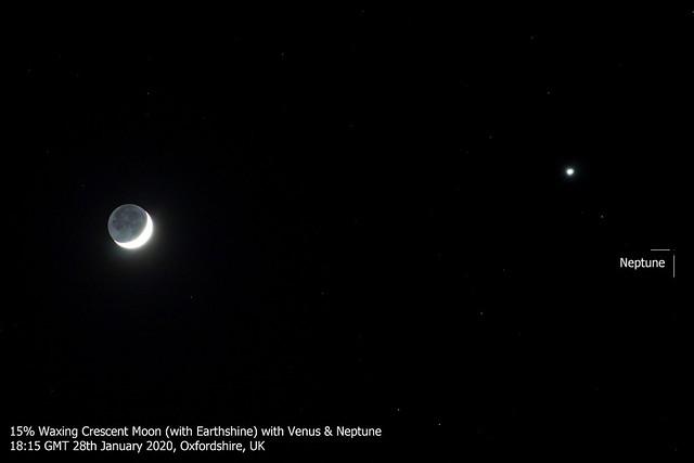 15% Waxing Crescent Moon, Venus & Neptune Conjunction 28/01/20