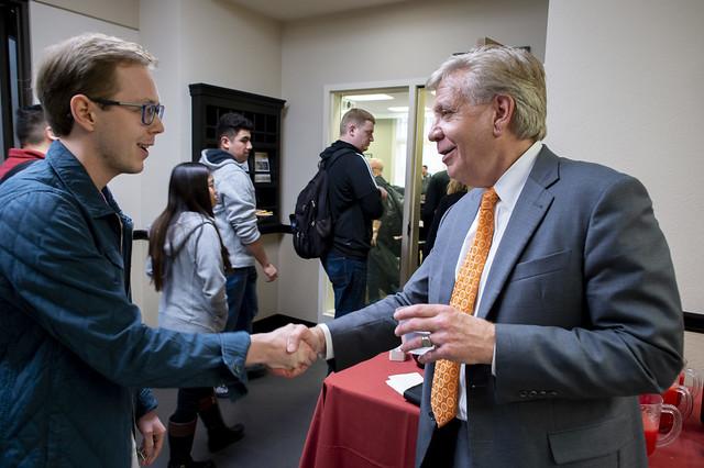 President Designate Chris Callahan visits Stockton Campus