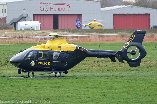 G-POLC - 2001 build Eurocopter EC135 T2+, making a rare visit to the airport side at Barton