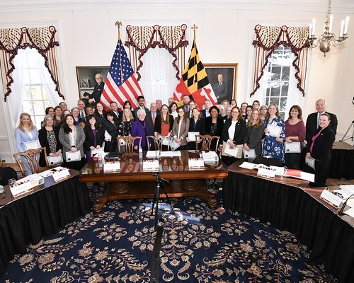 Photo of Maryland Climate Leadership Academy graduates receiving  governor's citations at the Board of Public Works meeting on Jan 29, 2020