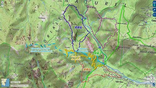 Carte IGN de la partie basse chemin et piste de Luviu avec la boucle faite en VTT les 25 et 26/01/2020