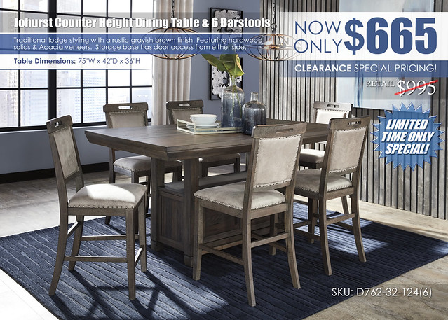 Johurst Counter Height Dining Table & 6 Barstools_Clearance SpecialD762-32-124(6)