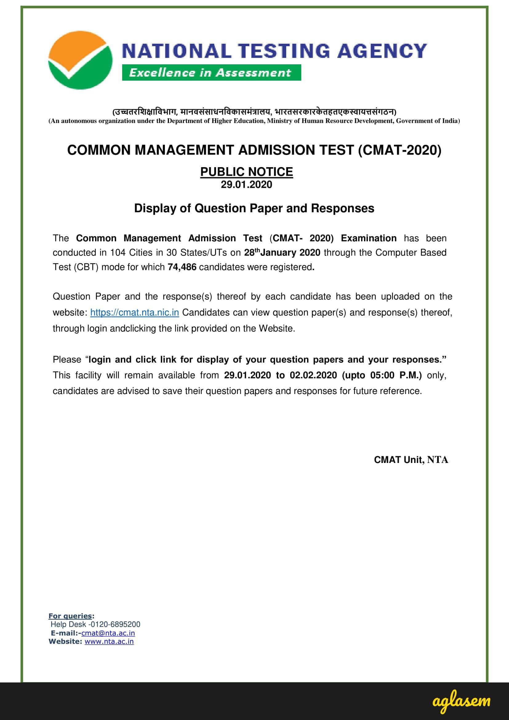 CMAT 2020 Question Paper
