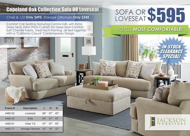 Copeland Oak Sofa OR Loveseat by Jackson Furniture wRibbon_4482