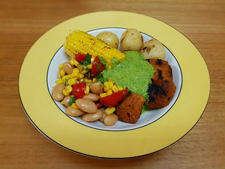 An All South American BBQ: So Good So Green Dipping Sauce; Peruvian Seitan and Potato Skewers; Corn on the Cob; Peruvian Red Chile-Corn Salad with Limas and Cherry Tomatoes