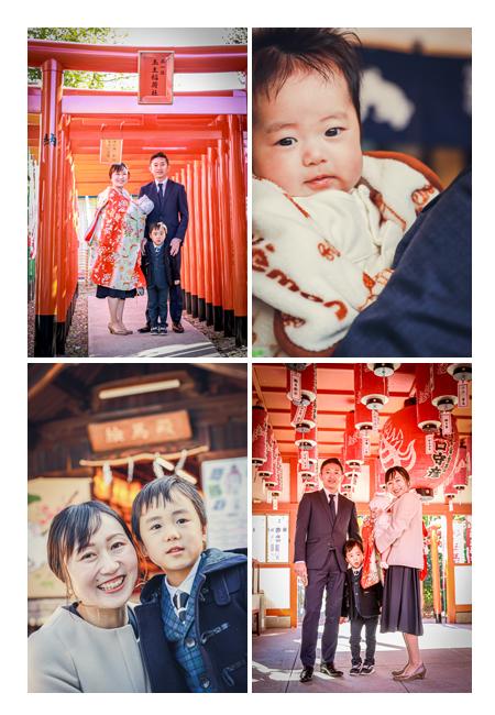 お宮参り 赤ち鳥居と提灯 伊奴神社 名古屋市 家族写真