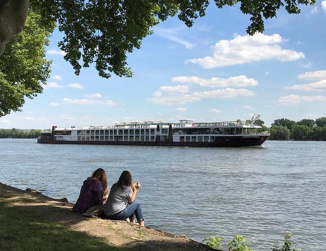 River Rhine in Geisenheim near Wiesbaden, Germany