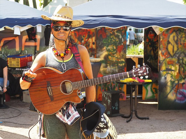 Entertainer at a Festival beside the River Rhine in Geisenheim, Germany