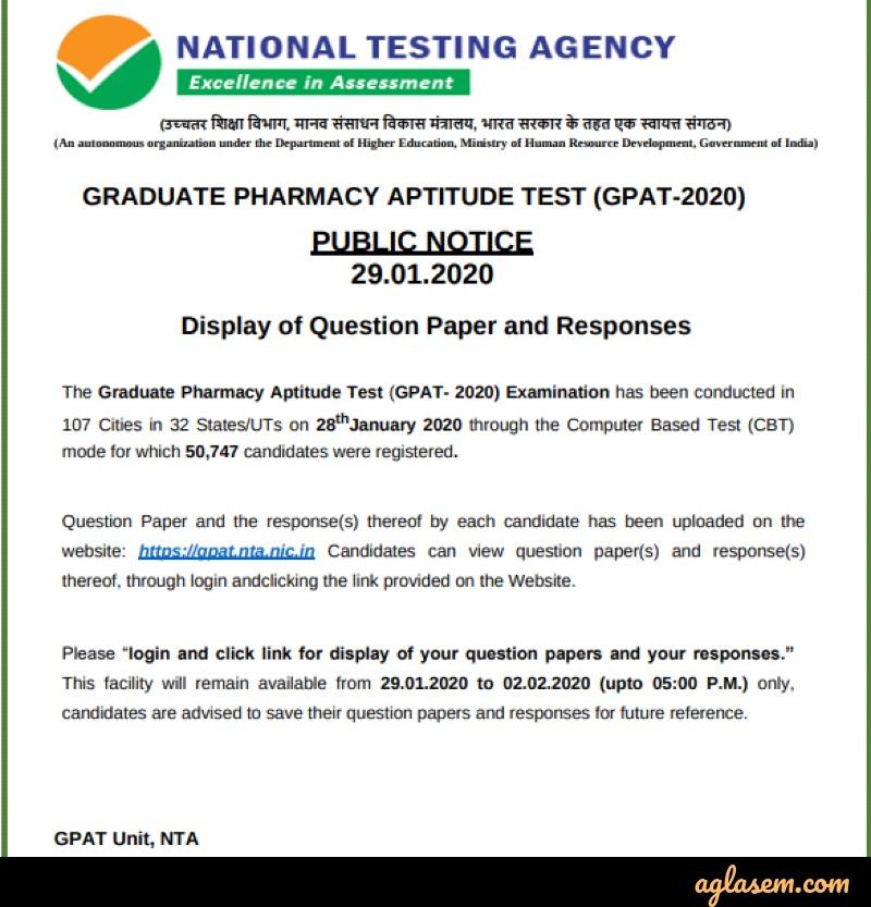 GPAT 2020 Response Sheet (Available) - Check at gpat.nta.nic.in