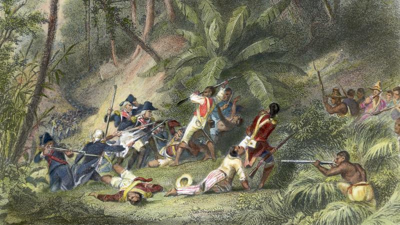 Nô lệ nổi dậy chống lại thực dân Pháp ở Haiti.