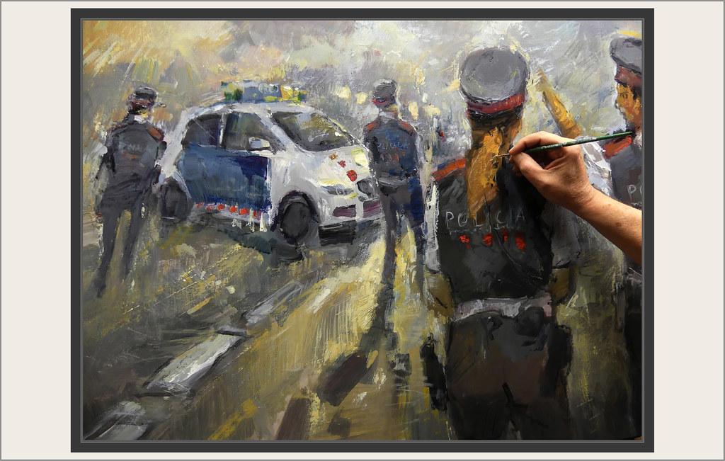 MOSSOS D'ESQUADRA-PINTURA-SOCIETAT-POLICIA-GENERALITAT-CATALUNYA-EMERGENCIES-CARRETERA-FOTOS-PINTANT-DETALLS-PINTOR-ERNEST DESCALS