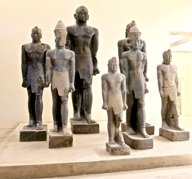 Granite statues, Kerma Museum, Kerma, Sudan, North-east Africa