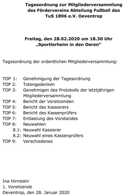 Tagesordnung zur Mitgliederversammlung 2020