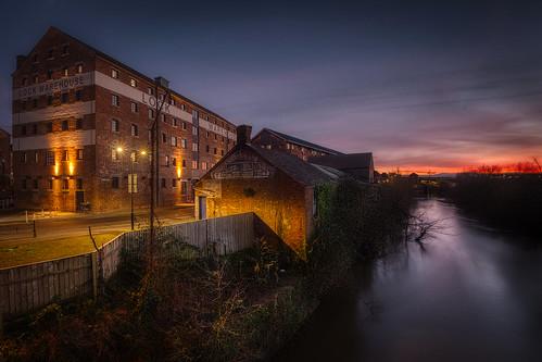 sunset severn riversevern gloucester gloucestershire warehouse architecture