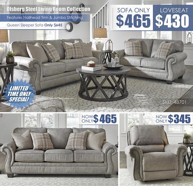 Olsberg Steel Your Choice Sofa Loveseat Sleeper Recliner Layout_48701_NEW