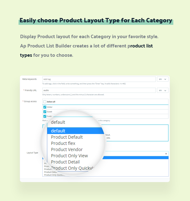 easily choose product layout type for each category