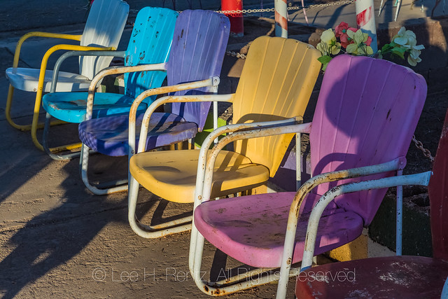 Colorful Metal Lawn Chairs at Delgadillo's Snow Cap Drive-In