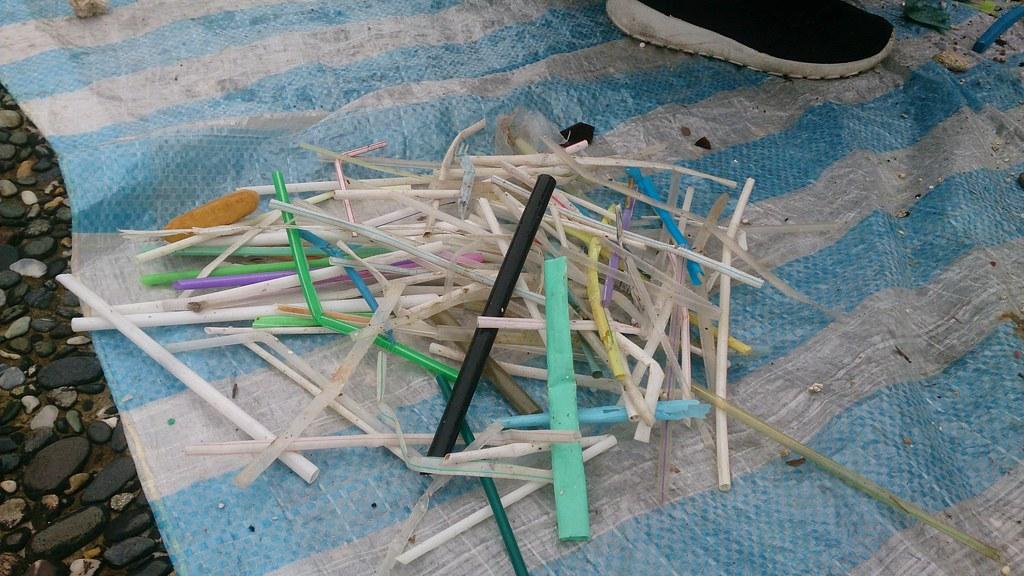 淨灘活動中一定可以發現的塑膠吸管。圖片來源:台灣環境資訊協會