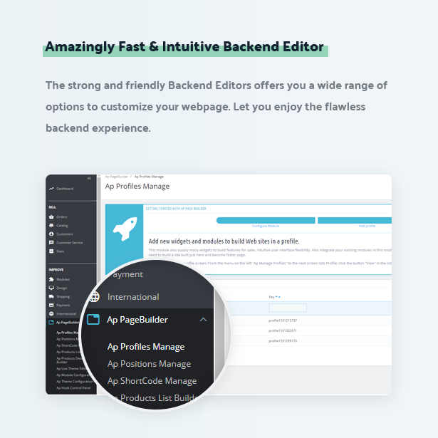 fast & intuitive backend editor
