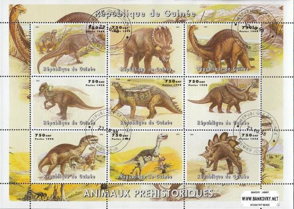Známky Guinea 1998 Prehistorické zvieratá, razítkovaný hárček