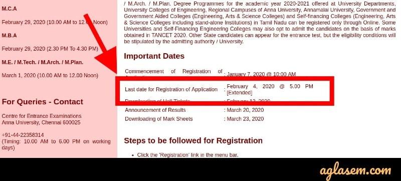 TANCET 2020 registration date extended