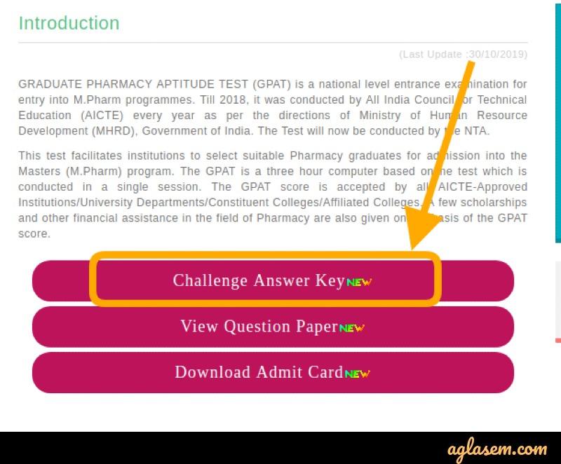 GPAT 2020 Answer Key (Released by NTA) - Download Final Key Pdf