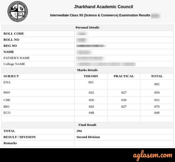 JAC class 12th Result