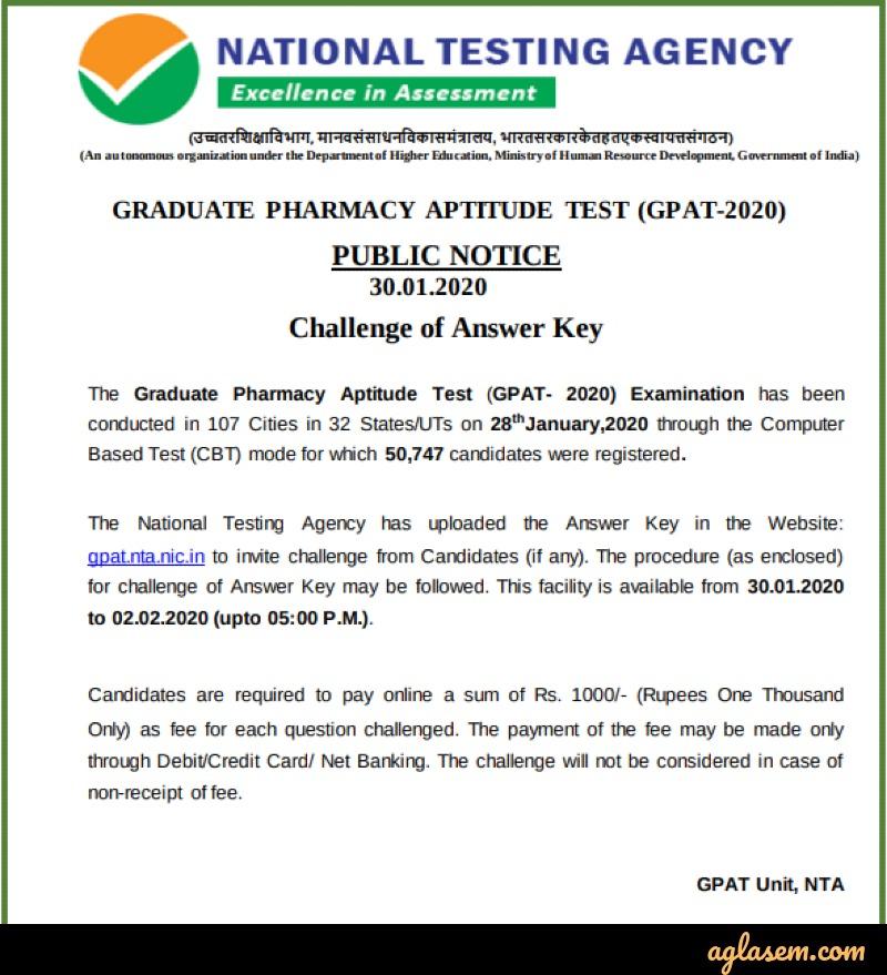 GPAT 2020 answer key challenge notice