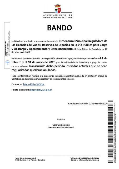 Bando ORDENANZA VADOS 22012020