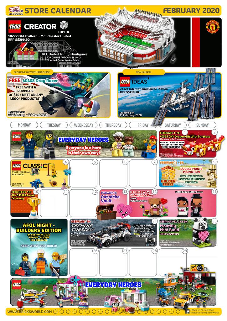 Bricks World February Store Calendar 2020 - Front
