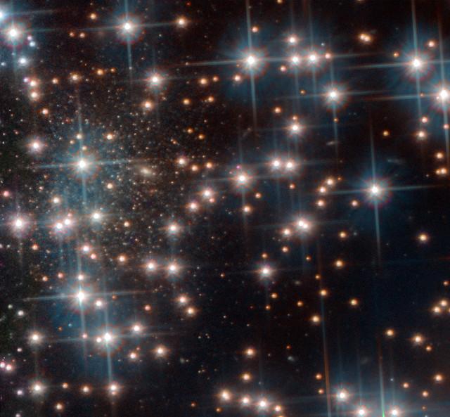 VCSE - Bedin I extragalaxis a gömbhalmaz csillagai között (balra, a sűrűbb, halványabb csillagok halmaza - a galaxis maga is felbontott csillagokra a képen). - HST