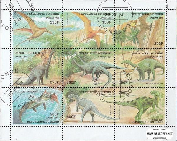 Známky Benin 1998 Prehistorické zvieratá, razítkovaný hárček