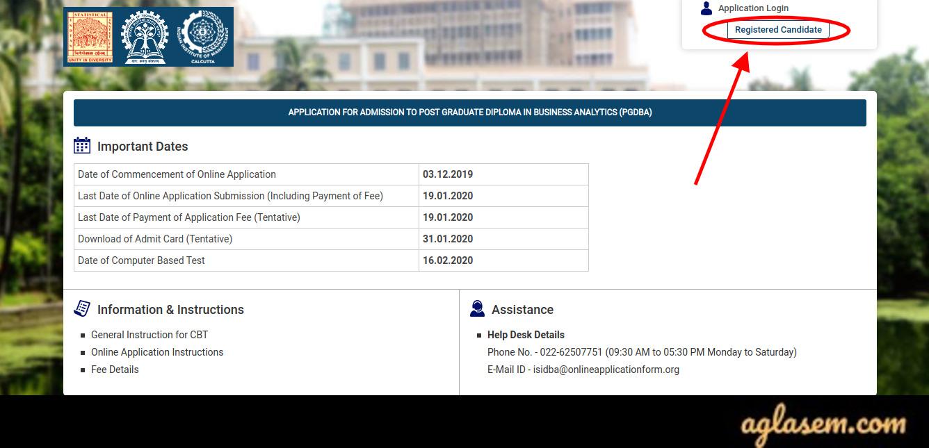 PGDBA 2020 Applicant login