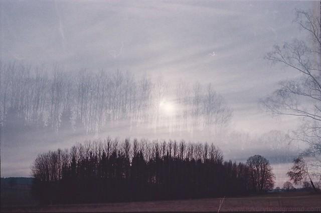 Landscape double exposure on film