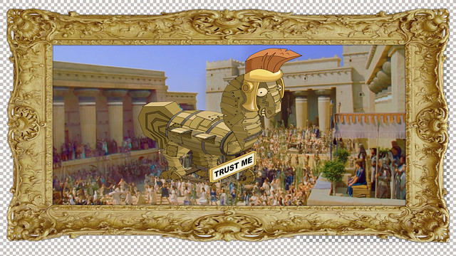 Ancient Greece, oil painting – Trojan Horse but it's a goofy Cartoon Horse [dot photoshop document]