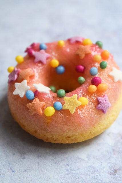 Rhubarb & Custard Mini Baked Doughnuts