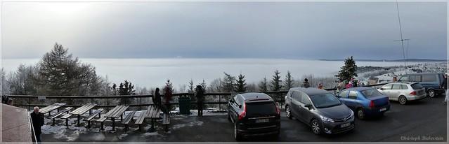 Blick vom Mückentürmchen auf das Nordböhmische Nebelmeer
