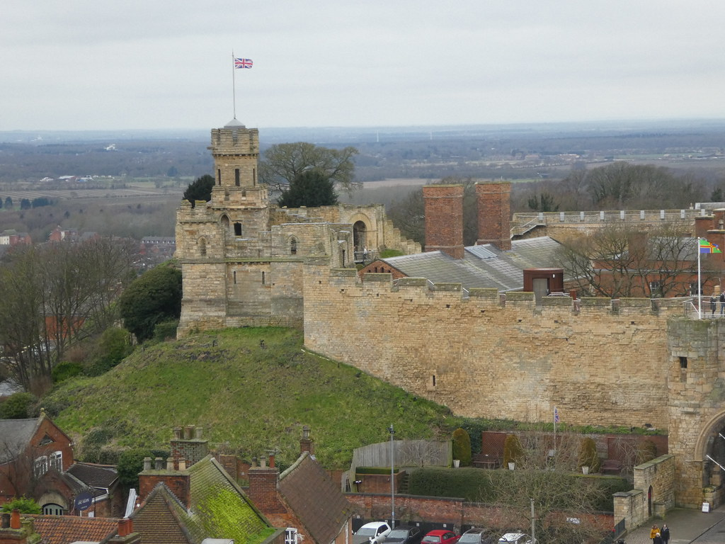 Lincoln Castle as viewed from the roof of Lincoln Cathedral