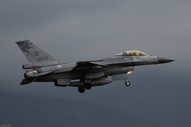 Lockheed Martin F-16A RoCAF (Taiwan Air Force) 6696 on final approach on a dark and rainy day at Hualien Air Base