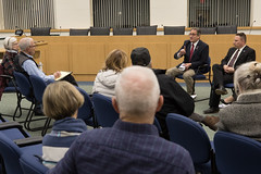State Rep. John Fusco responds to a comment during a Southington Town Hall.
