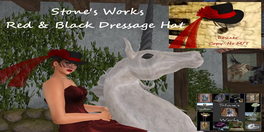 Red & Black Dressage Hat Stone's Works