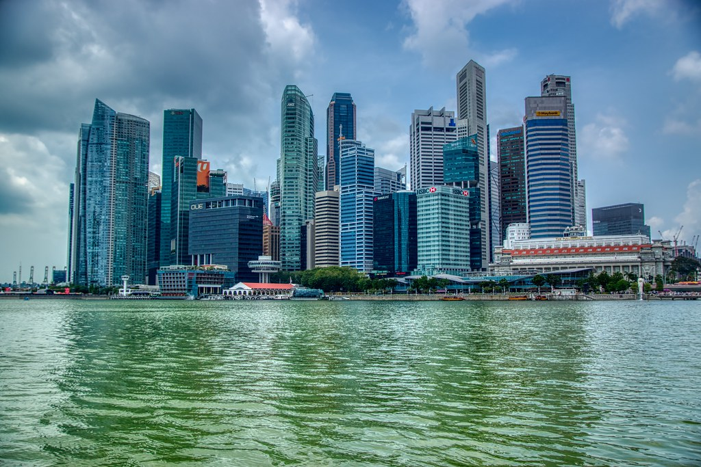 Central Business District (CBD) or downtown of Singapore seen from Marina Bay
