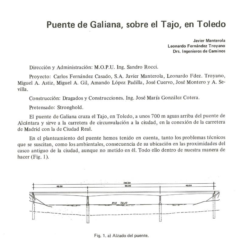 Artículo publicado en el Núm. 158 (1986) de la Revista Hormigón y Acero, sobre el Puente de Galiana o de Azarquiel