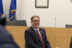 State Rep. John Fusco laughs at a comment during a Southington Town Hall.