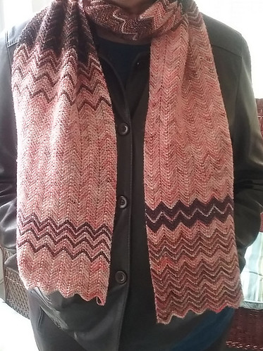 Carol's ZickZack scarf knit using yarn leftover from her Slow Curves Shawl - Madelinetosh Tosh Merino Light