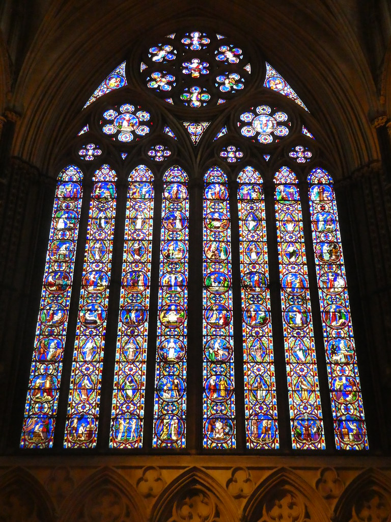 Magnificent stained glass windows in Lincoln Cathedral