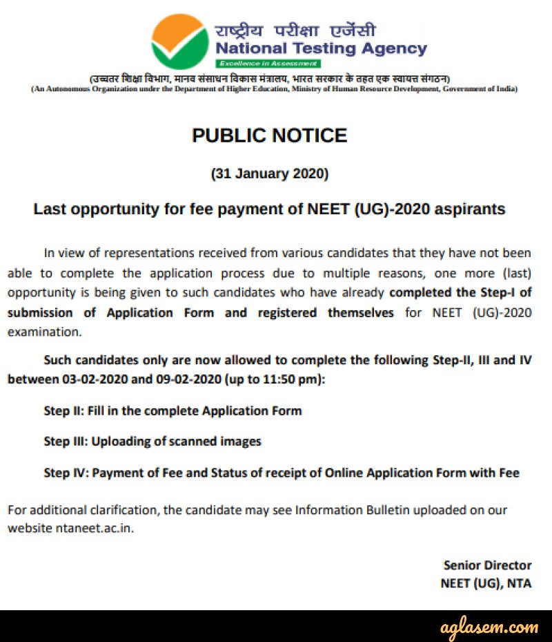 NEET 2020 Application Form Opens Again